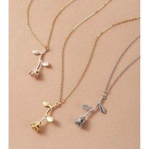 Rose Pendant Charm Necklaces, 3 pc Set